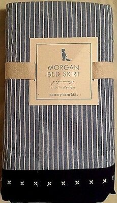 NEW Pottery Barn Kids MORGAN Navy & Light Blue White Stripes Crib Bed Skirt NWT