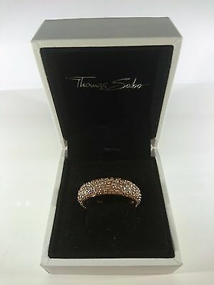Thomas Sabo Sterling Silver Rose Gold Plated 'Crushed Pave Design' Ring Size O