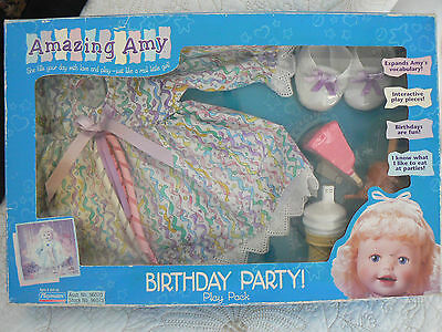 1998 Amazing Amy Doll Playmates BIRTHDAY PARTY OUTFIT & ACCESSORIES NEW IN BOX!