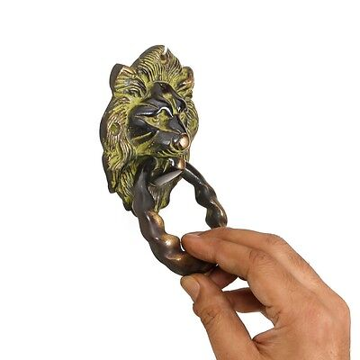 Antique Finish Lion Brass Door Knocker Vintage Style Art Door Handle Decor Knob
