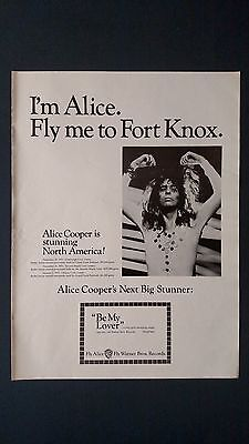 """Alice Cooper """"fly Me To Fort Knox"""" 1971, Rare Original Print Promo Poster Ad"""