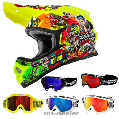 O'Neal 3series Crank Neon Helm Crosshelm MX Motocross Cross HP7 Brille Enduro DH