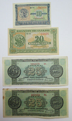 Vintage - 4 Greece Currency - 10 - 20 - 25 Drachma - Free Shipping!!!