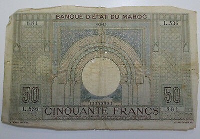 Vintage - 1941 Morocco - 50 Francs - Free Shipping!!!
