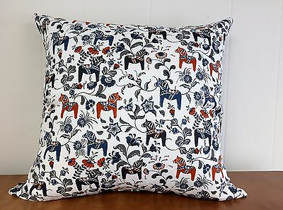 Swedish Dala Horse Pillow Cover White with Blue
