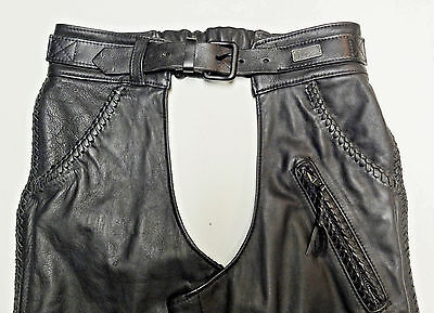 Harley Davidson Willie G Black Leather Chaps *made In Usa* Womens Medium Med 205