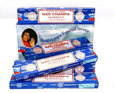 Genuine Satya Sai Nag Champa Incense Agarbatti Sticks Whole Pack of 12 Nag