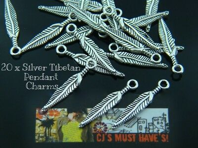 20 x 3D SILVER FEATHER  LEAF TIBETAN CHARM PENDANT FOR JEWELLERY MAKING FINDINGS