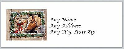 30 Personalized Address Labels Christmas Horse Buy 3 get 1 free(ac466)