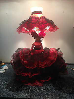 Vintage Admiration Toy Co. Yonkers Ny Spanish Doll Lamp W/original Hat/shade