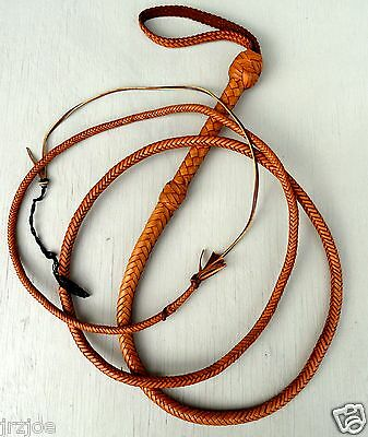 8 Foot 12 Plait TAN Bull whip Raiders INDIANA JONES TRICK Leather BULLWHIP #W66