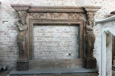 Hand Carved Marrakech Style Marble Fireplace Mantel w/ Women& Corinthian Carving
