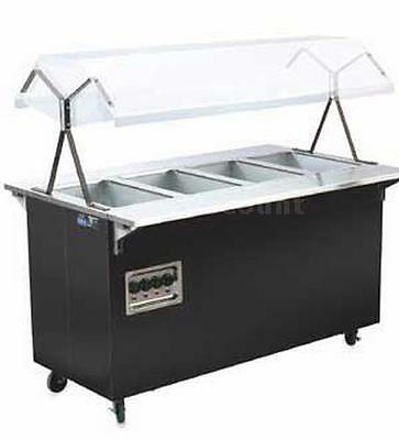Vollrath T38770 4 Well Mobile Cherry Hot Food Steam Table with Solid Base