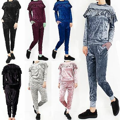 New Womens Ladies Ruffle Frill Crushed Velvet Top Tracksuit Loungewear Suit 8-26