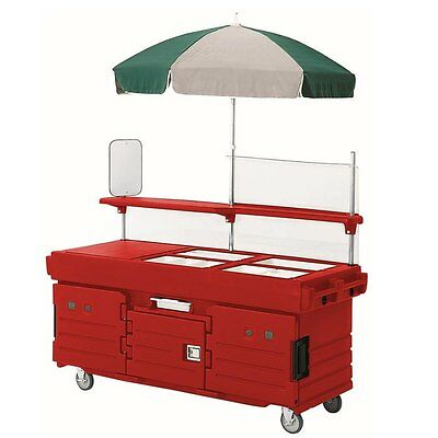 Cambro KVC856158 6 Pan Well Vending Merchandising Cart w/ Umbrella Hot Red