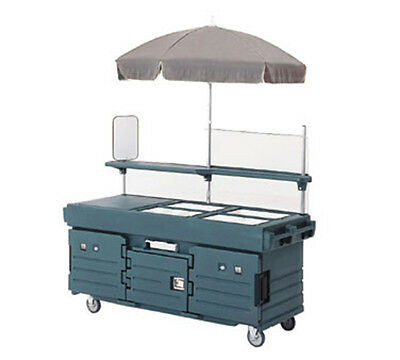 Cambro KVC856186 6 Pan Well Vending Merchandising Cart w/ Umbrella Navy Blue