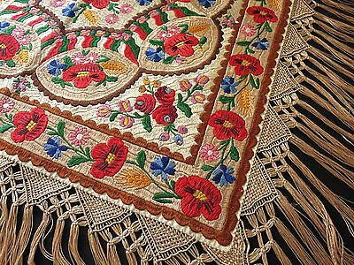 Large Vtg MATYO Hungarian SILK EMBROIDERY TABLECLOTH w/ FRINGE Red Poppies Wheat
