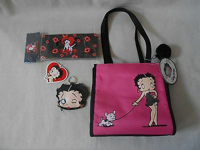 BETTY BOOP 3 pc GIFT SET pink small tote BAG + Coin Purse + Pencil Case Tin NEW