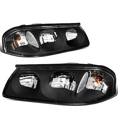 Fit 2000-2005 Chevy Impala Pair Black Housing Clear Turn Signal Headlight/Lamp