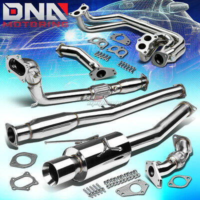 """4""""ROLLED TIP STAINLESS EXHAUST TURBO CATBACK+PIPE+2PC HEADER FOR WRX/STi GD/GG"""