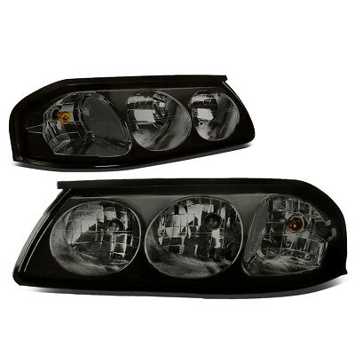 Fit 2000-2005 Chevy Impala Pair Smoked Housing Clear Turn Signal Headlight/Lamp