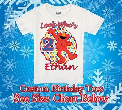 Shirt Elmo Personalized Birthday T-shirts Custom Name and Age Party Favor Gift