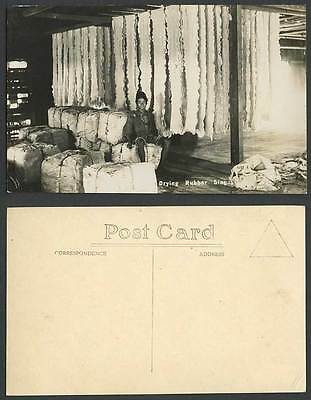 Singapore Old Real Photo Postcard Native Worker Drying Rubber Malaya Ethnic Life
