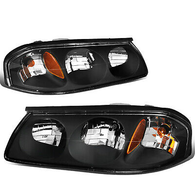 Fit 2000-2005 Chevy Impala Pair Black Housing Amber Turn Signal Headlight/Lamp