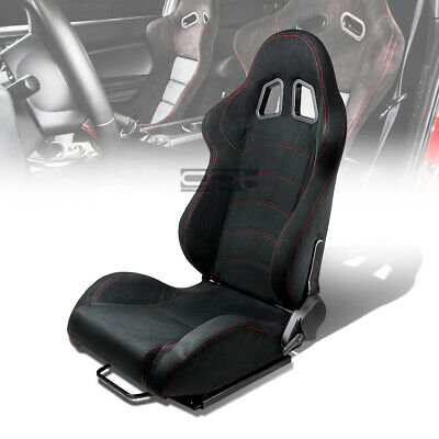 1 X Black Suede Reclinable Sports Racing Seats+Universal Slider Driver Left Side
