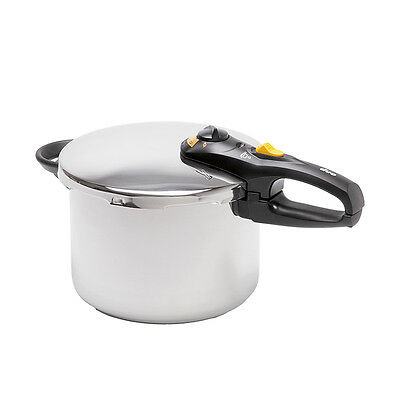 Stainless Steel Induction New Duo Pressure Cooker w/ Steamer Basket & Trivet 8 L