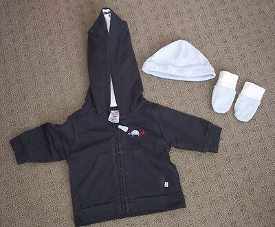 Baby Boys Ollies Place Jumper Sz 0000 And Mittens And Hat