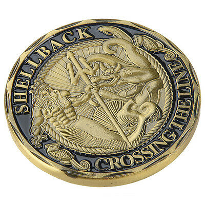 Us Navy Crossing The Line Shellback Neptune Challenge Coin 40Mm