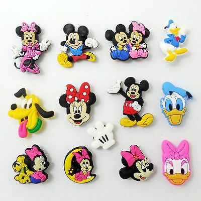 13pcs/set Kids Cartoon Mickey/Minnie/Duck Shoe Charms Fit Jibbit&Croc Wristbands