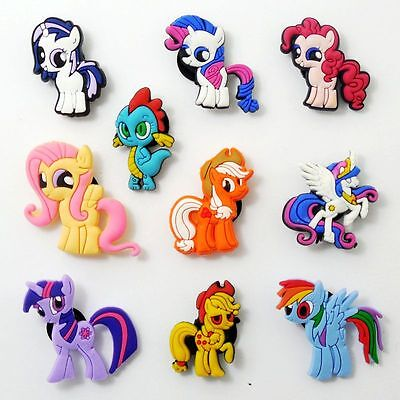 10pcs/set Kids Cartoon My Little Pony Shoe Charms Fit Jibbit&Croc Wristbands
