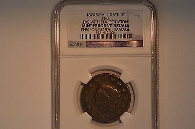 1820 Coronet Large Cent- Double Struck with reverse rotation- NGC VG Details.