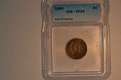 1864 CN Indian Head Cent- Off-Center- ICG VF-20.  Awesome piece!