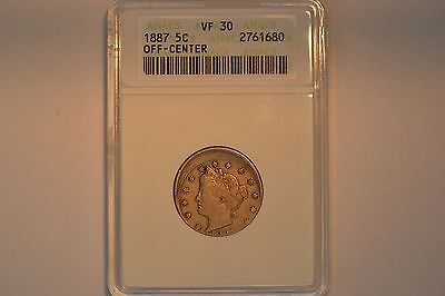 1887 Liberty Head Nickel- Off-Center- ANACS VF-30.  Great Error!!