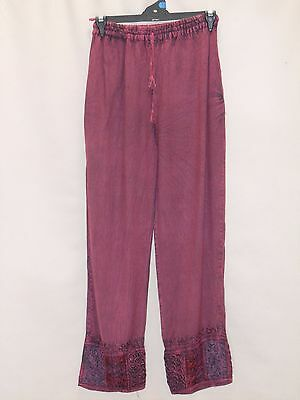 1980's Vintage Elastic Waisted Hippy Pants with Embroidery.