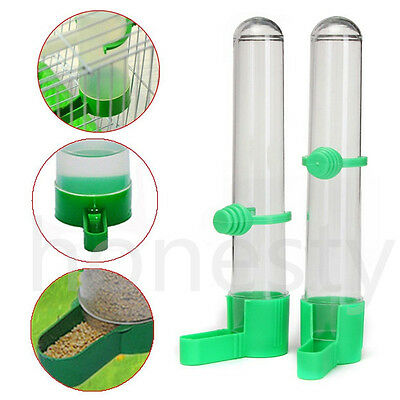 2x Safe Bird Drinker Food Feeder Waterer w/ Clip For Aviary Budgie Parrot Keeper