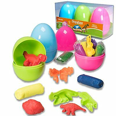 Prextex Jumbo Surprise Easter Eggs Filled with Clay Dough and 3D Dinosaur Toys