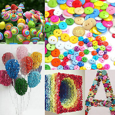 100Pcs Plastic Mixed Colorful Sewing Scrapbooking Buttons Craft 8/11/15/17/22mm