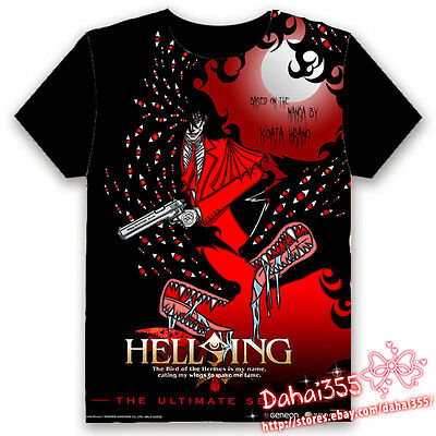 Anime Hellsing Ova HD Fiery Terror Black Cosplay Unisex Hentai T-shirt Tops #X