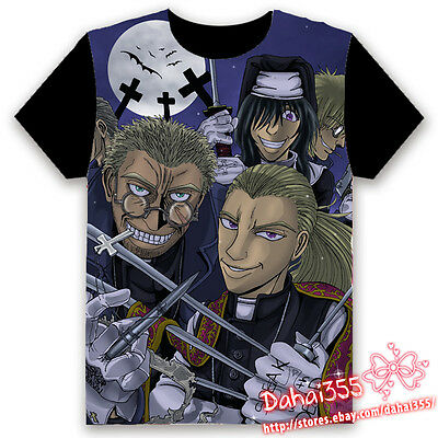 Anime Hellsing Ova HD Fiery Terror Black Cosplay Unisex Hentai T-shirt Tops #V6