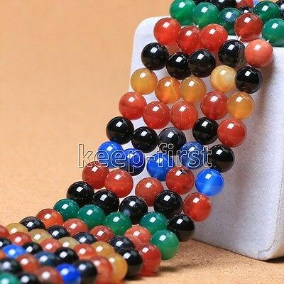 6mm 8mm 10mm Natural Multicolor Agate Onyx Round Gemstone Loose Beads 15''AAA+
