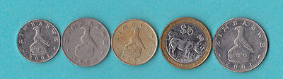 Zimbabwe .lot Of 5 Coins.