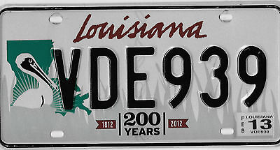 Authentic 2013 Louisiana Large Pelican 200 Years License Plate # Vde 939 Nice