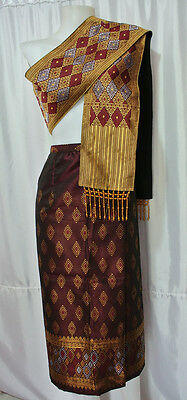 Brown Gold Lao Laos Synthetic Silk Sinh Skirt Free Size Pha Bieng Beads CPA62