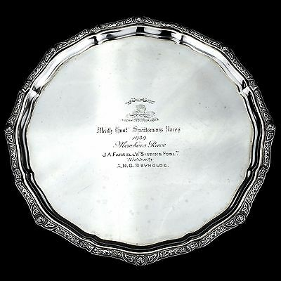 Antique Solid Sterling Silver Salver/Tray with Irish / Celtic Decoration. 1,145g