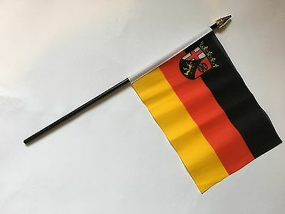 "RHEINLAND-PFALZ SMALL HAND WAVING FLAG 6""X4"" flags EUROPE GERMAN GERMANY"