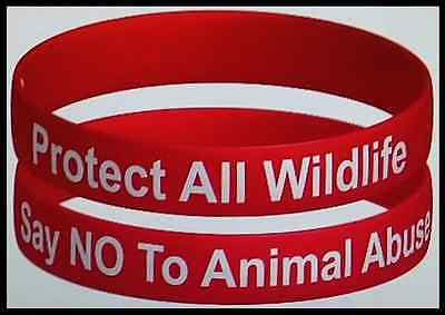 'PROTECT ALL WILDLIFE - SAY NO TO ANIMAL ABUSE' WRISTBAND - #MakeCrueltyHistory
